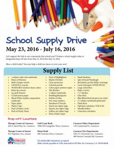 School supply drive - carencro (622x800)